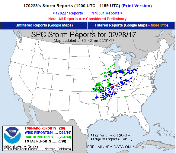 Tornado Outbreak in Midwest and Southeast Kills 3
