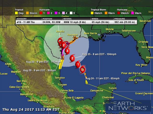 Harvey Forecast To Be Major Hurricane at Texas Landfall