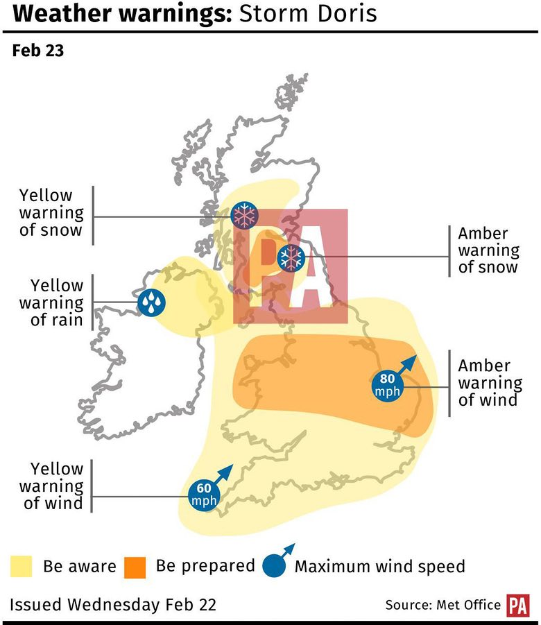 Winter Storm Doris Rocks UK with 100 mph Winds